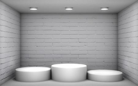 3D illustration - White podium in a brick room