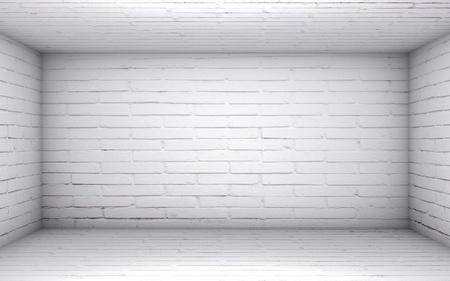 3D illustration - Empty white brick room