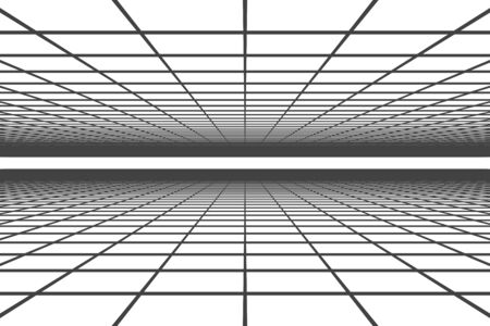 3D illustration - Abstract black grid on white background Archivio Fotografico