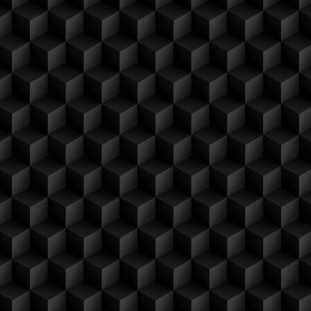 3D illustration - Pattern of black cubes in isometric perspective