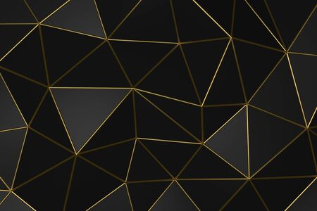 3D illustration - Abstract geometric dark background with golden folds
