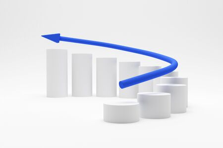 3D illustration - White cylinders curve chart with a blue arrow increasing Archivio Fotografico