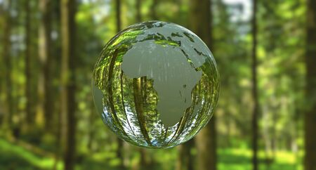 3D illustration - Planet Earth shaped like a crystal ball in a green forest