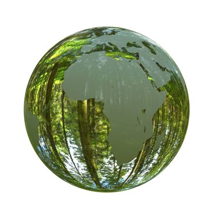 3D illustration - Green planet Earth shaped like a crystal ball isolated on white background Stock Photo