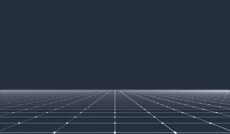 3D illustration - Abstract white grid on dark blue background Archivio Fotografico