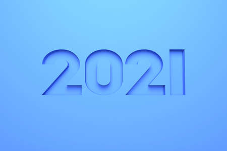 3D illustration - Number of the year 2021 engraved on blue material