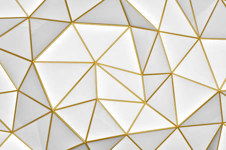 3D illustration - Abstract geometric white background with golden folds