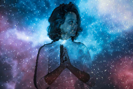 Portrait of a woman connecting with the universe Stok Fotoğraf
