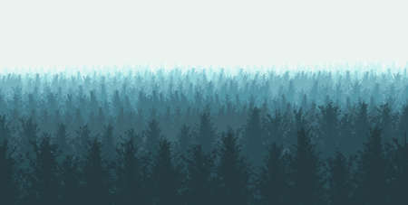 Illustration of a forest with fog