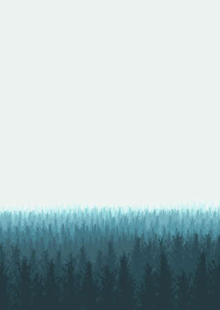 Illustration of a forest with fog in vertical composition Stok Fotoğraf