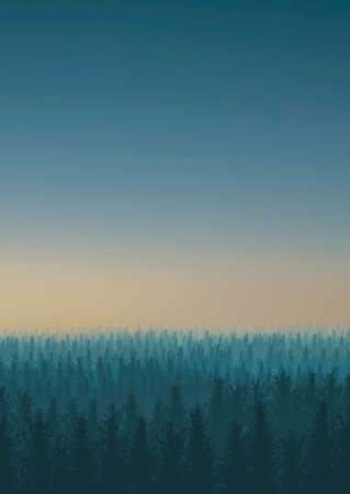 Illustration of a forest with fog at sunset in vertical composition