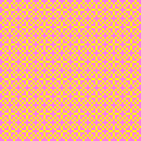 Illustration of a pink and yellow pixel mosaic pattern