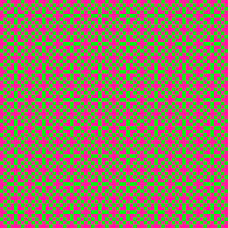 Illustration of a pink and green pixel mosaic pattern