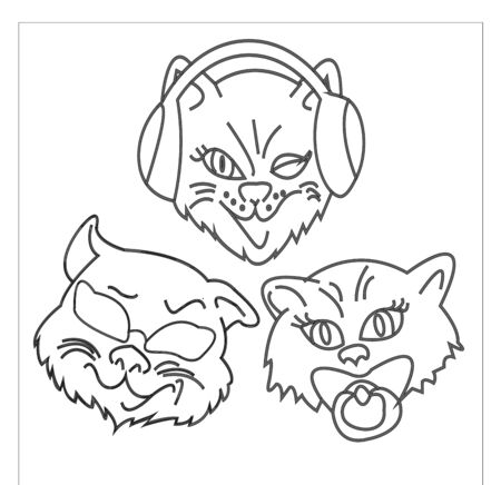 outline illustration funny cat in headphones isolated on white background symbol i dont sit i dont hear i wont say