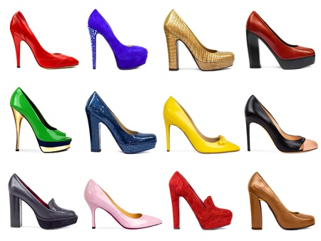 stilleto: Female footwear collection on white background Stock Photo
