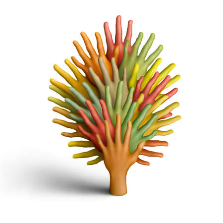 The tree made of multicolored plasticine hands on a white background