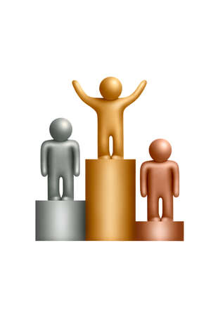 Pedestal with a plasticine human figures on a white background photo
