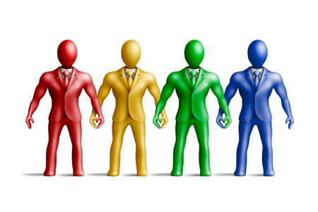 egghead: Multicolored plasticine businessmen figures on a white background