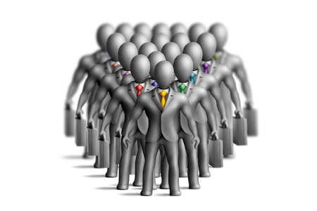 duties: Gray plasticine businessmen figures with an multicolored ties on a white background