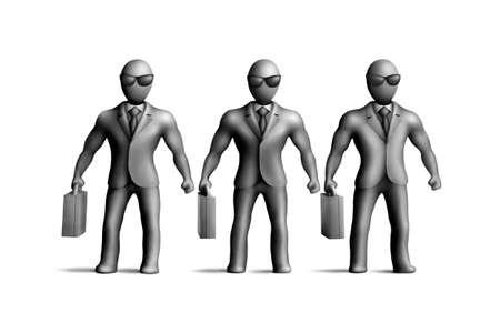 egghead: Gray plasticine figures on a white background