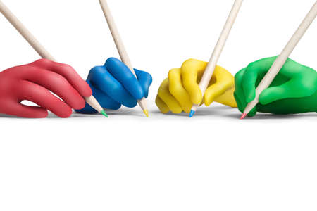 Multicolored plasticine hands with a pencils on a white background Stock Photo - 10564401