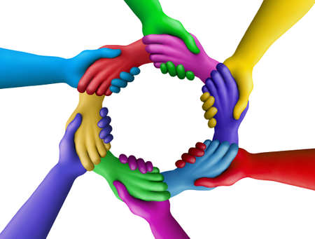strong partnership: Multicolored plasticine hands on a white background Stock Photo