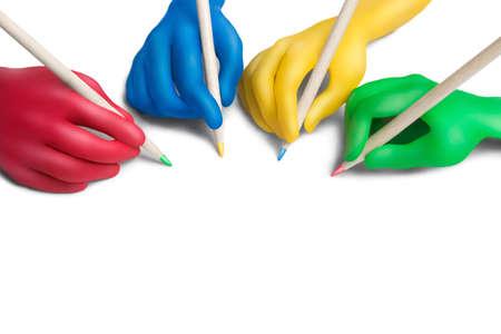 pacto: Manos de plastilina multicolores con lápices sobre un fondo blanco