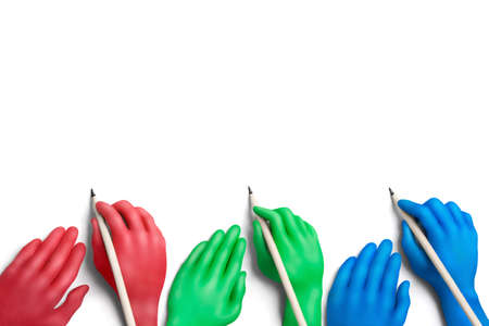 collectivity: Multicolored plasticine hands with a pencils on a white background