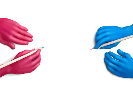 Multicolored plasticine hands with a pencils on a white background Stock Photo - 10564374