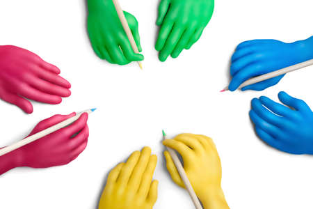 Multicolored plasticine hands with a pencils on a white background