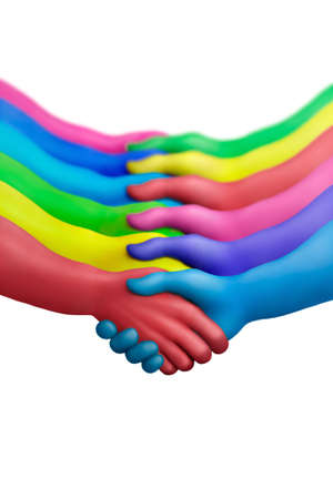 communication metaphor: Multicolored plasticine hands on a white background Stock Photo