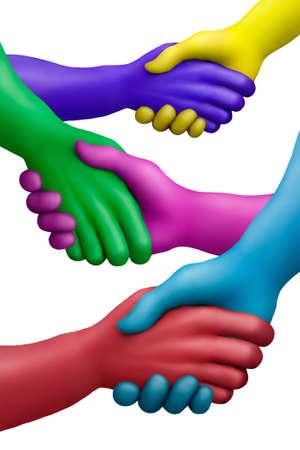 amistad: Manos de plastilina multicolores sobre un fondo blanco Foto de archivo
