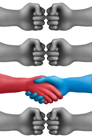 conflicted: Handshake on a conflicted hands background  Stock Photo