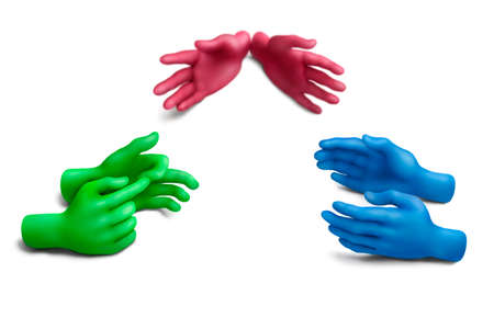 collectivity: Multicolored plasticine hands on a white background Stock Photo