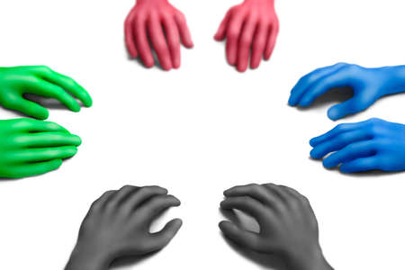 collectives: Multicolored plasticine hands on a white background Stock Photo