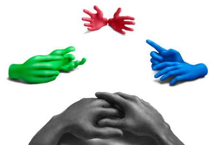 conversaciones: Manos de plastilina multicolores sobre un fondo blanco Foto de archivo
