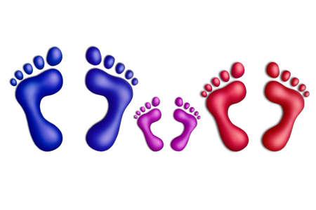 huellas pies: Huellas multicolores plastilina sobre un fondo blanco