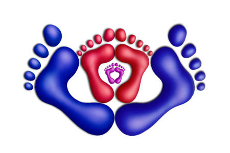 adult footprint: Multicolored plasticine footprints on a white background