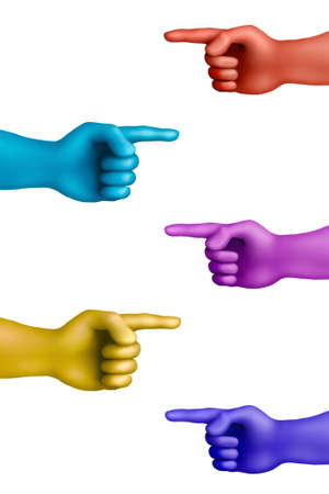 differ: Multicolored plasticine pointed out hands on a white background Stock Photo