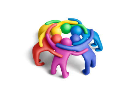 Multicolored plasticine embraced  human figures arranged in a circle