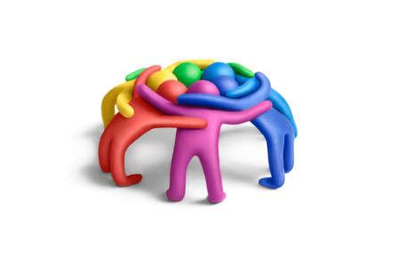 clandestine: Multicolored plasticine embraced  human figures arranged in a circle