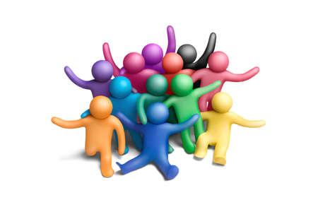 amistad: Grupo de personas multicolores plastilina sobre un fondo blanco
