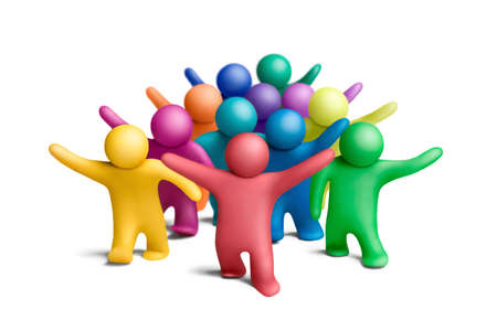 Multicolored group of plasticine people on a white background Stock Photo