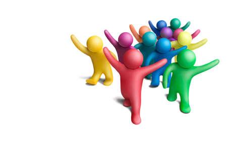 Grupo multicolor de la gente de plastilina sobre un fondo blanco