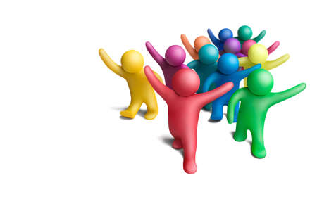 collectivity: Multicolored group of plasticine people on a white background Stock Photo