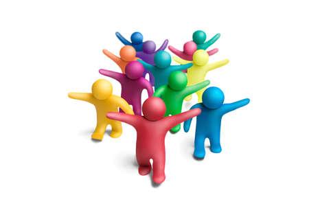 Grupo de personas multicolores plastilina sobre un fondo blanco