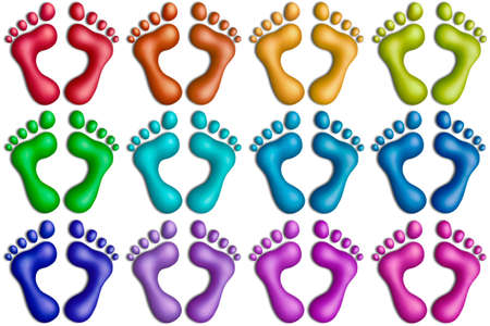 Multicolored plasticine footprints on a white background