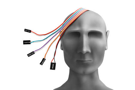 Human head  with wires made of plasticine photo