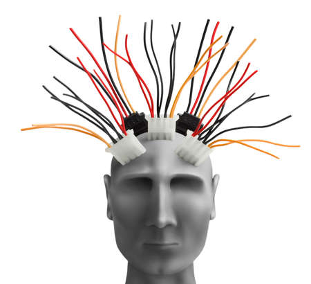 robot head: Human head  with wires made of plasticine