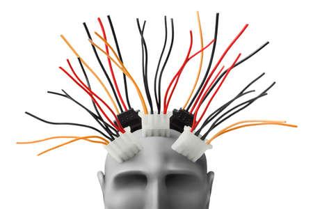 artificial hair: Cabeza humana con cables de plastilina Foto de archivo